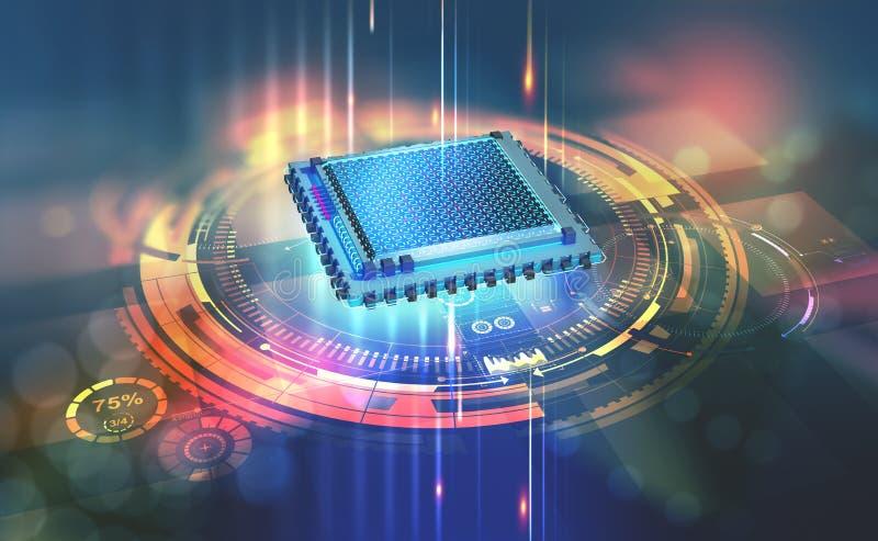 Futuristic CPU. Quantum processor in the global computer network. 3d illustration of digital cyber space stock illustration