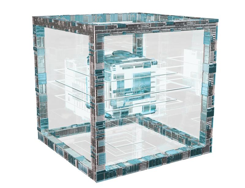 Futuristic cube technology textured object 3D rendering. Futuristic cube technology textured object on blue background 3D rendering vector illustration