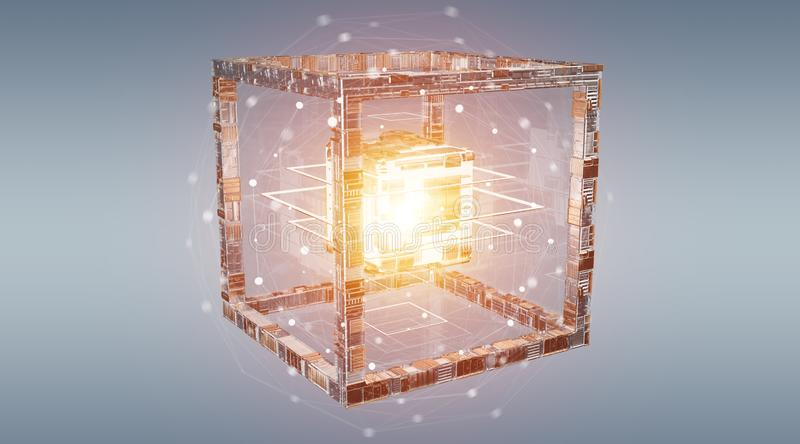 Futuristic cube technology textured object 3D rendering royalty free illustration