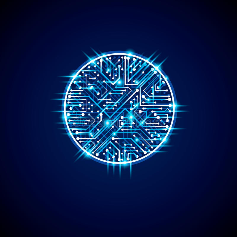 Futuristic cybernetic scheme, vector motherboard blue illustration with neon lights. Circular gleam element with circuit board te. Xture royalty free illustration