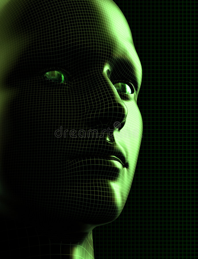 Futuristic Cyborg Head vector illustration