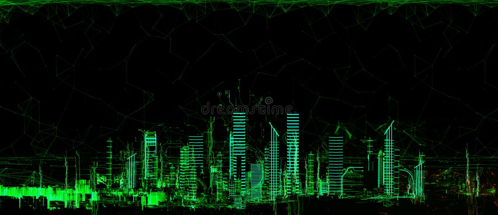 Futuristic 3d city neon light. Futuristic skyscrapers in the flow of information. The flow of digital data. city of the future 3d render. 3D illustration. The vector illustration