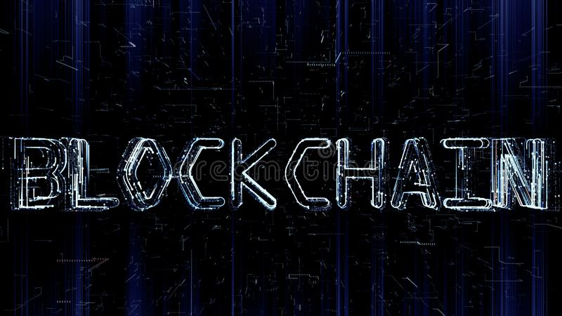 Futuristic 3D illustration of Blockchain text being formed by programming code. Futuristic 3D illustration of Blockchain text being formed by particles and vector illustration