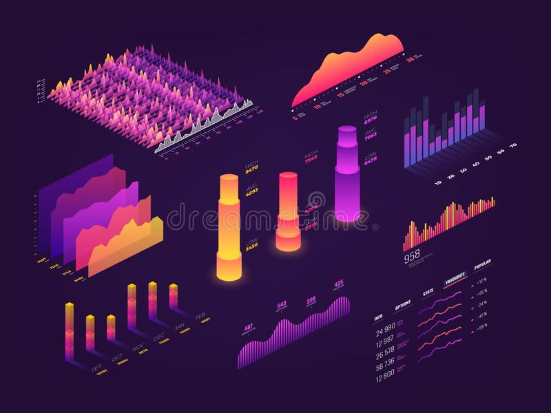 Futuristic 3d isometric data graphic, business charts, statistics diagram and infographic vector elements royalty free illustration