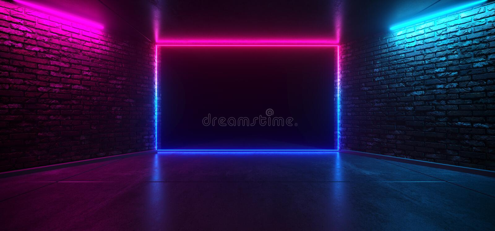 Futuristic Dance Club Neon Glowing Purple Blue Pink Retro Elegant Empty Stage Room With Reflective Grunge Concrete Brick Wall. Rectangle Shaped Neon Light Shape stock illustration