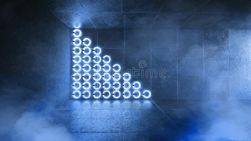 Futuristic dark tunnel with round neon lamps and reflections royalty free stock image
