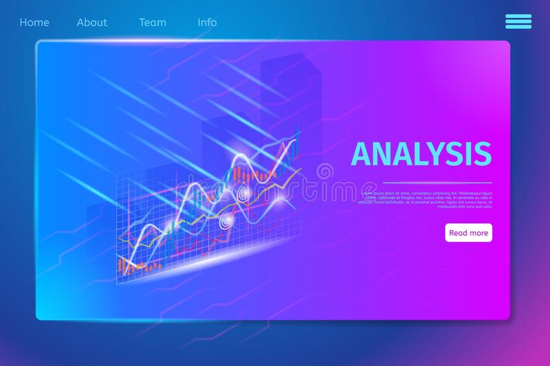 Futuristic Data Graphic, Business Chart Banner. Futuristic Data Graphic, Business Chart, Statistics Diagram Infographic Elements. Growth Progress Graphs on stock illustration