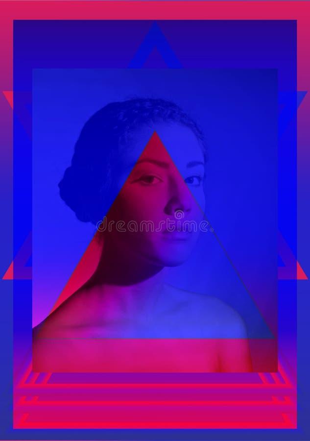 Futuristic Design/Contemporary art collage /Zine culture concept/Duotone portrait royalty free illustration