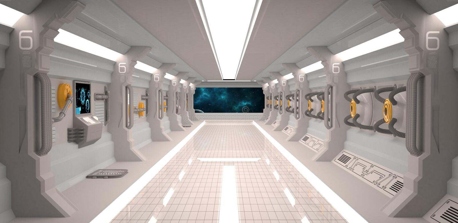 Futuristic design spaceship interior with metal floor and light panels royalty free illustration