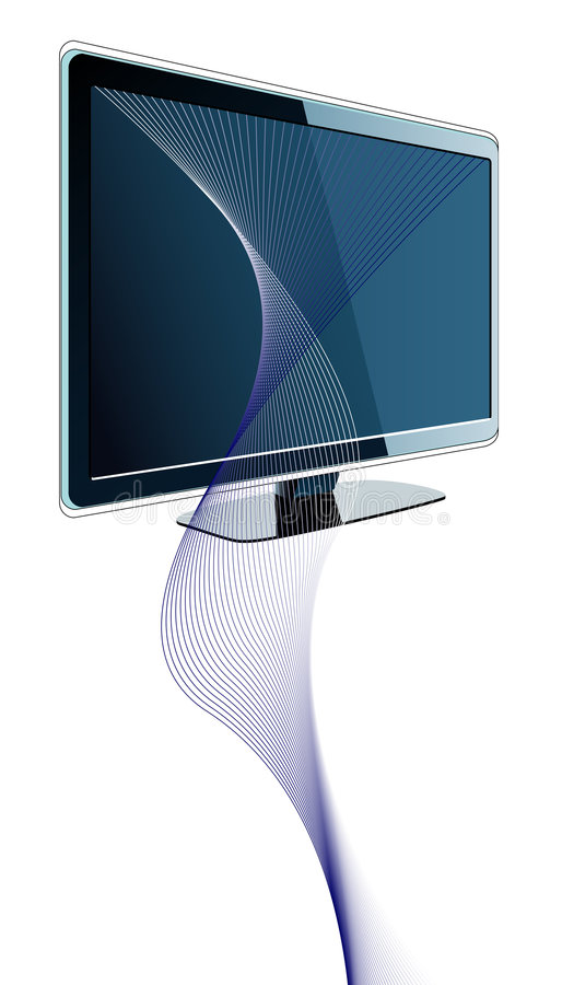 Futuristic design with tv and wavy lines. Vector illustration royalty free illustration