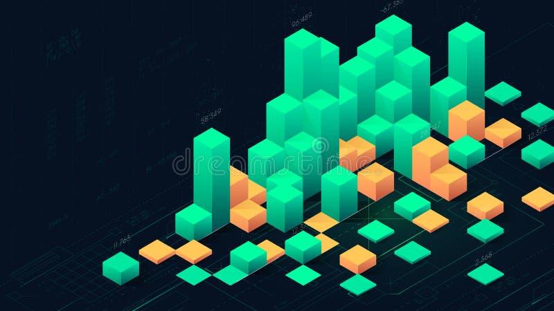 Futuristic digital data visualization, infographic columns of business analytics stock illustration