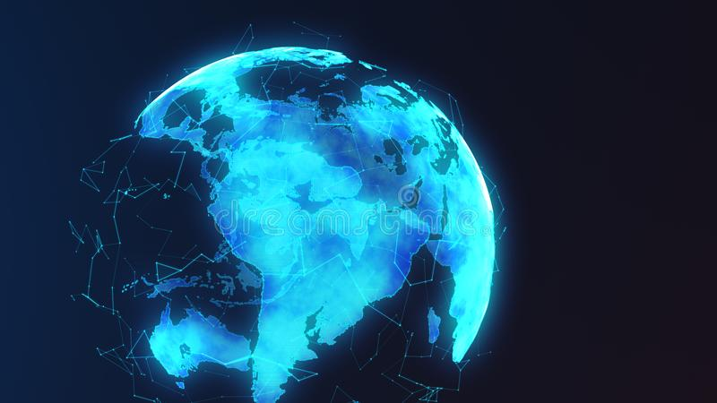 Futuristic digital earth with network nodes connecting and circling the globe royalty free illustration