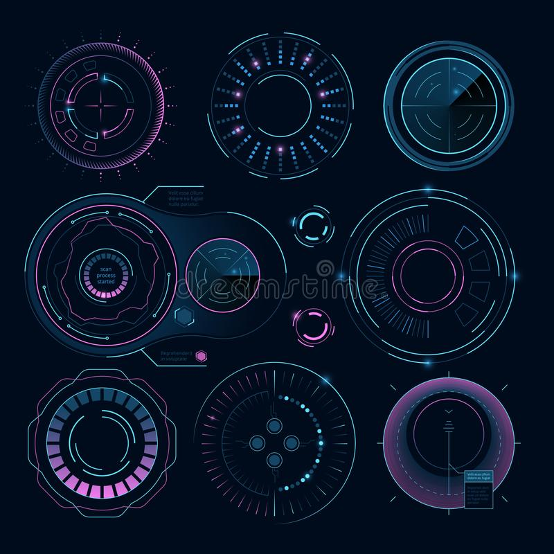Futuristic digital graphics. Hud radial shapes for web interface. Information, electronic circular sphere, vector illustration royalty free illustration