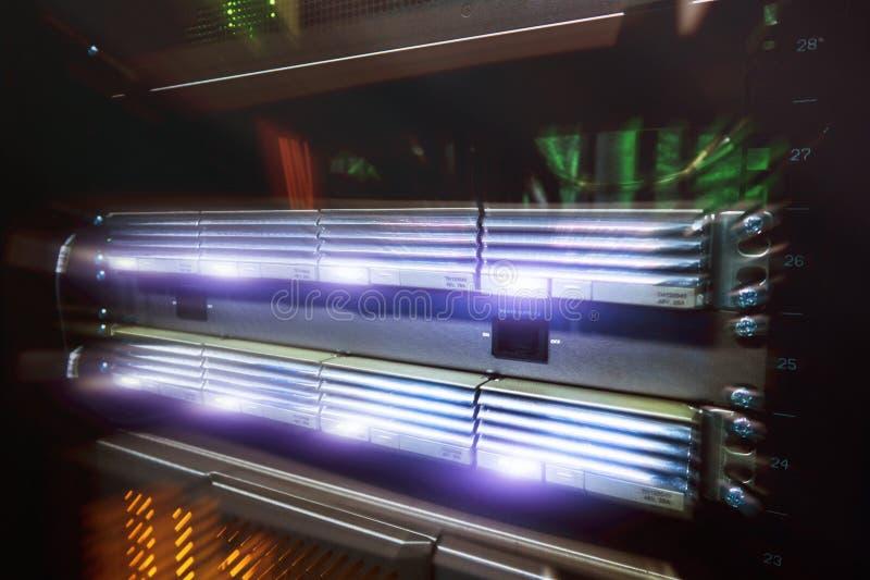 Futuristic disign Shot of in Large Data Center. Big servers racks. stock photo