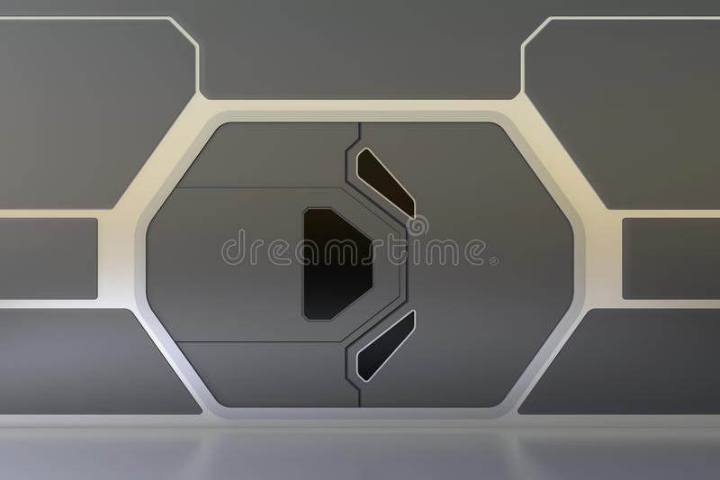 Futuristic door. Futuristic metallic door or gate royalty free illustration