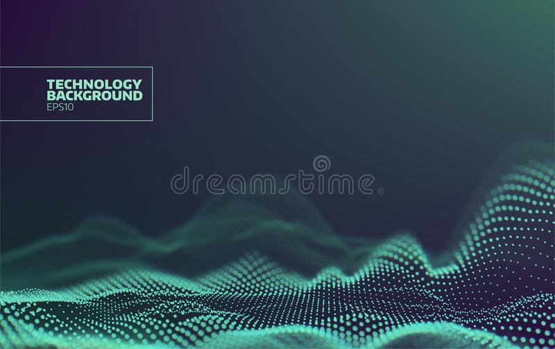 Futuristic dots pattern. Technology wave background. Digital abstract. Cyberspace landscape. Particles grid royalty free illustration