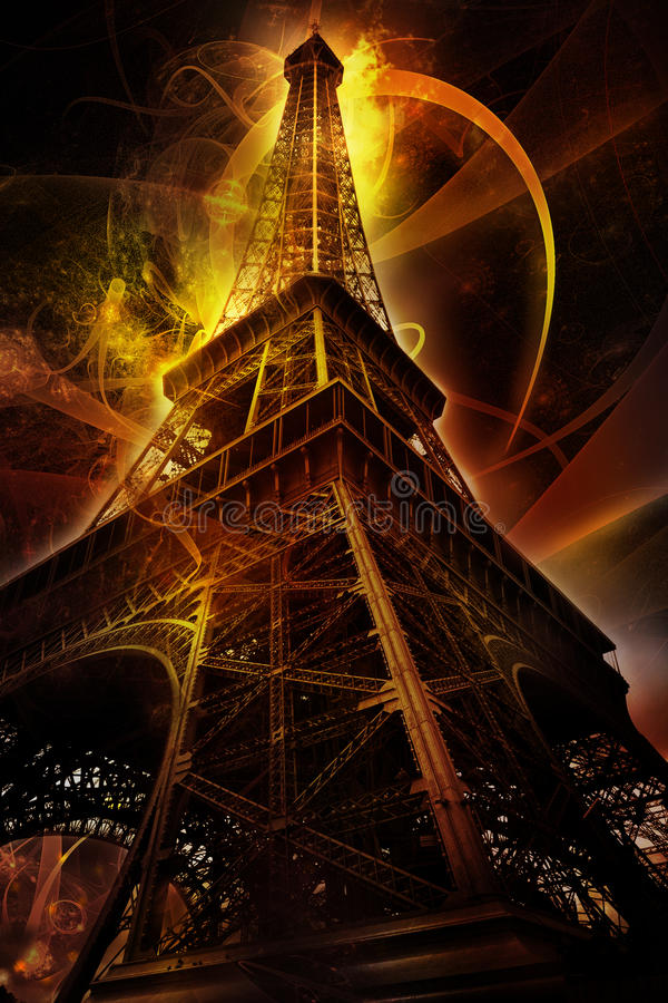 Futuristic Eiffel tower stock illustration