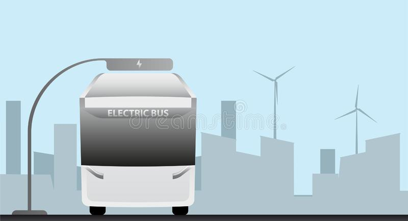 Futuristic electric bus at a stop stock illustration
