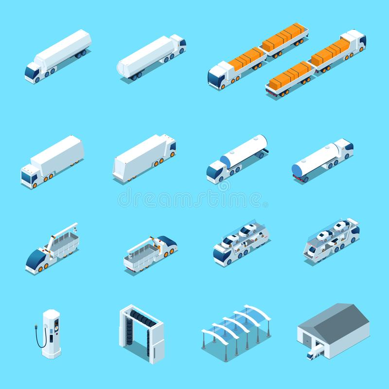 Futuristic Electric Vehicles Isometric Icons stock illustration
