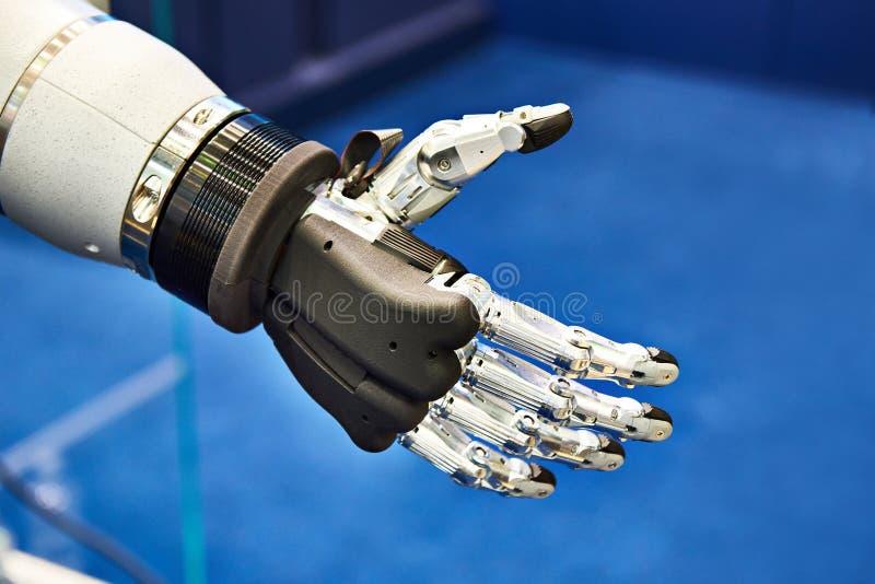 Robot hand. Futuristic electronic robot hand closeup royalty free stock photography