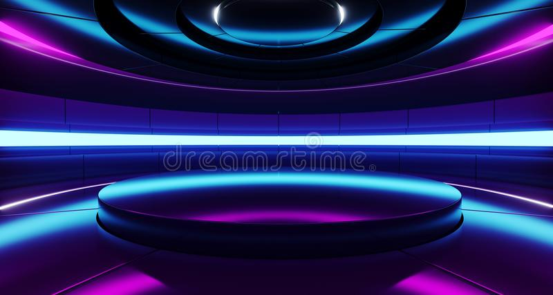 Futuristic Empty Stage Alien Ship Modern Future Background Technology Sci-Fi Interior Concept With Reflective Metal Surface And P vector illustration