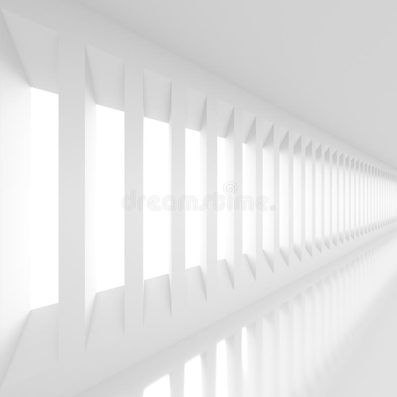 Futuristic white background. Futuristic empty white corridor with rectangular walls and windows. 3D Rendering royalty free illustration