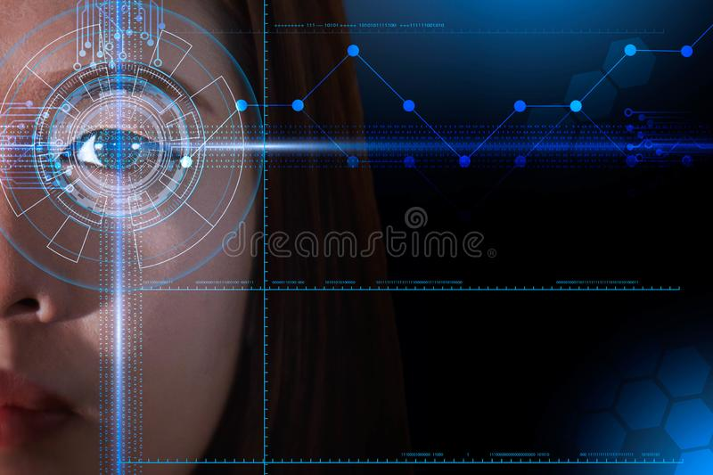 Futuristic eye and face scanning of Asian women, biometric and id technology concept. Blue futuristic eye and face scanning of Asian women, biometric and id royalty free illustration