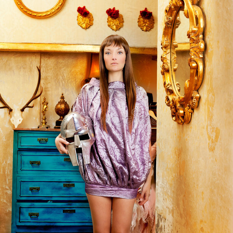 Futuristic fashion woman in retro grunge home royalty free stock image