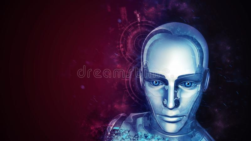 Futuristic Female Android. At dark background - 3D rendering royalty free illustration