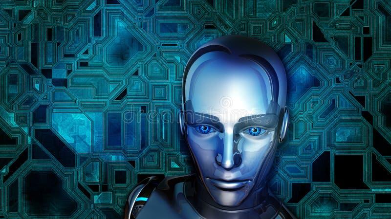 Futuristic Female Android. At digital circuit background vector illustration