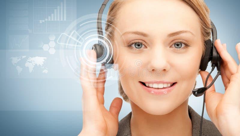 Futuristic female helpline operator stock photo