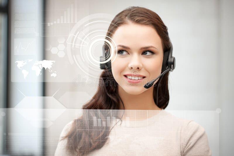 Futuristic female helpline operator stock photos