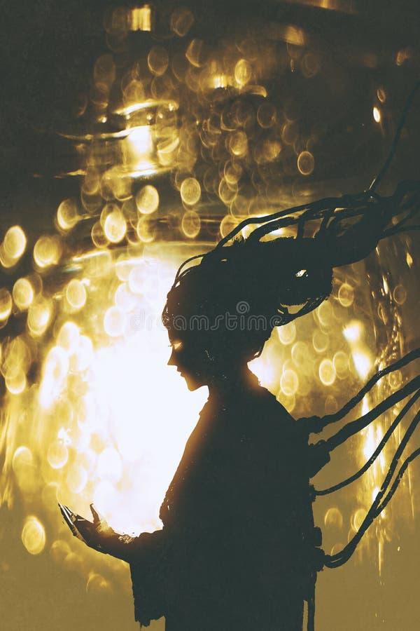 Futuristic female robot silhouette on golden light background stock illustration