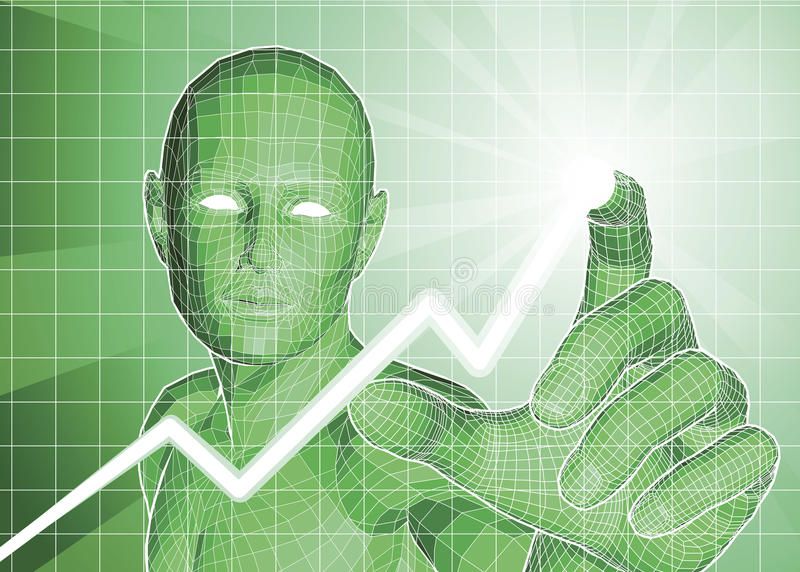 Futuristic Figure Tracing Upwards Trend On Graph Royalty Free Stock Photos