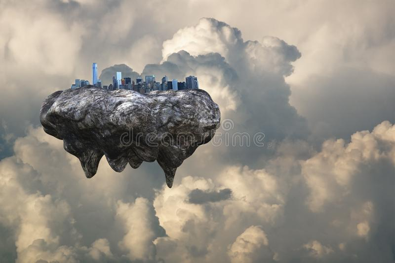 Futuristic Floating City, Modern, Clouds. A futuristic floating city in the sky and clouds. The modern urban skyline gives a hint of future technology stock photography