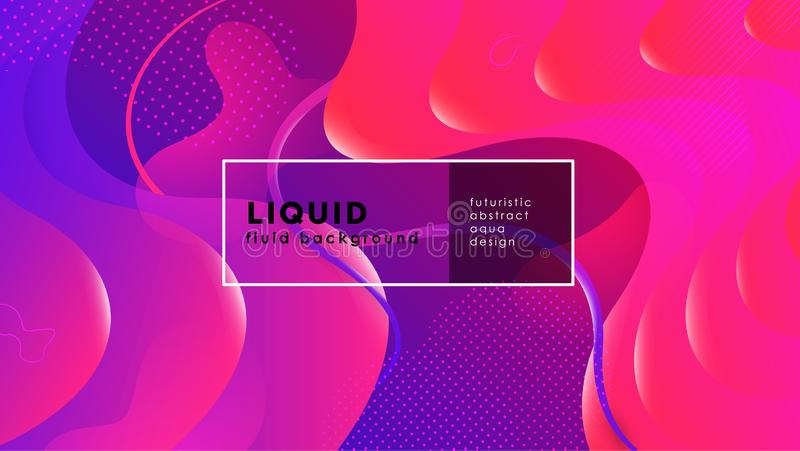 Futuristic fluid abstract background. Liquid blue red pink gradient geometric shapes. Eps 10 vector royalty free illustration