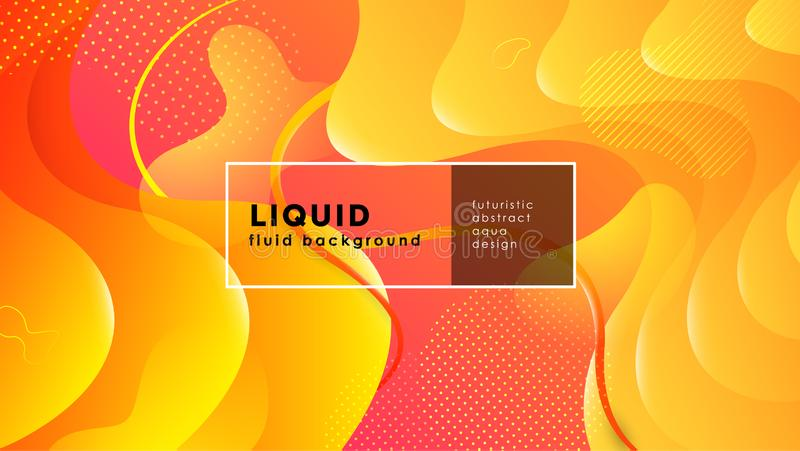 Futuristic fluid abstract background. Liquid yellow red gradient geometric shapes. Eps 10 vector stock illustration