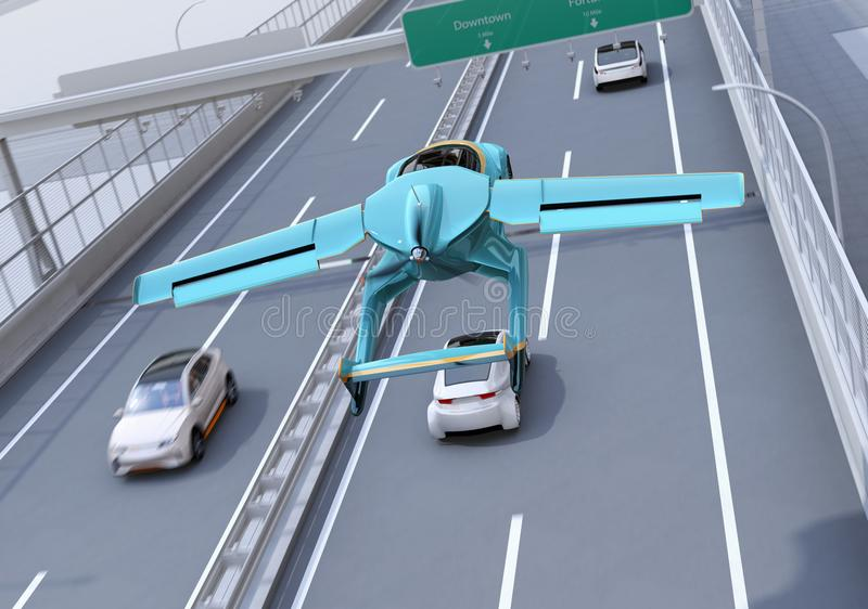 Futuristic flying car flying over the highway. Fast transportation without traffic jam concept. 3D rendering image royalty free illustration