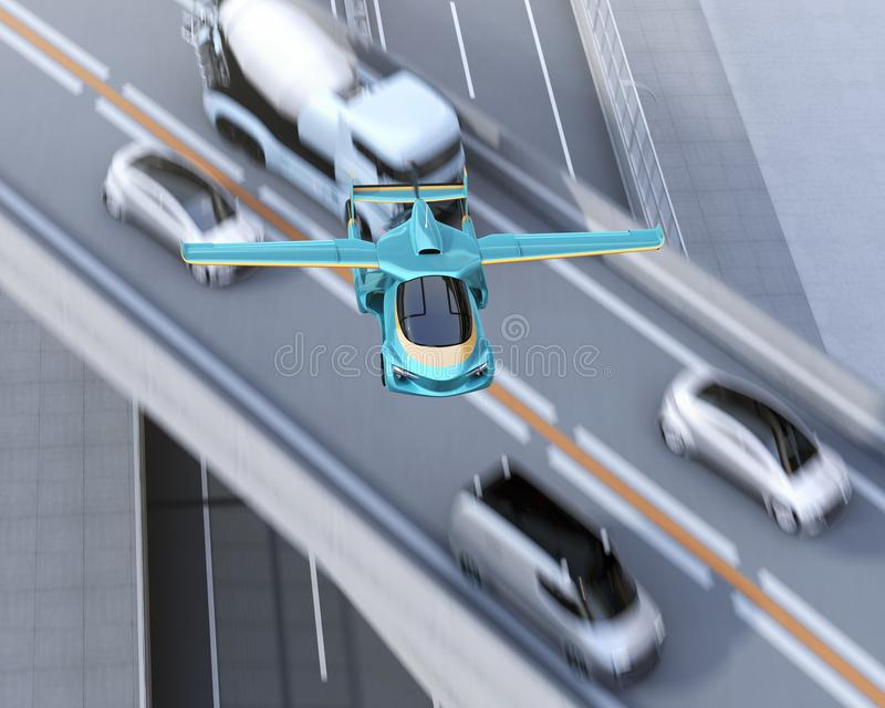 Futuristic flying car flying over traffic jam in highway. Fast transportation without traffic jam concept. 3D rendering image stock illustration