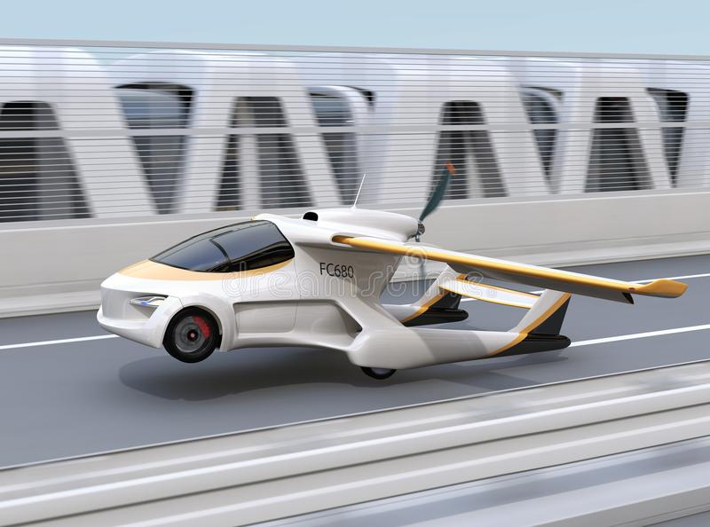 Futuristic flying car takes off from highway. Fast transportation without traffic jam concept. 3D rendering image royalty free illustration