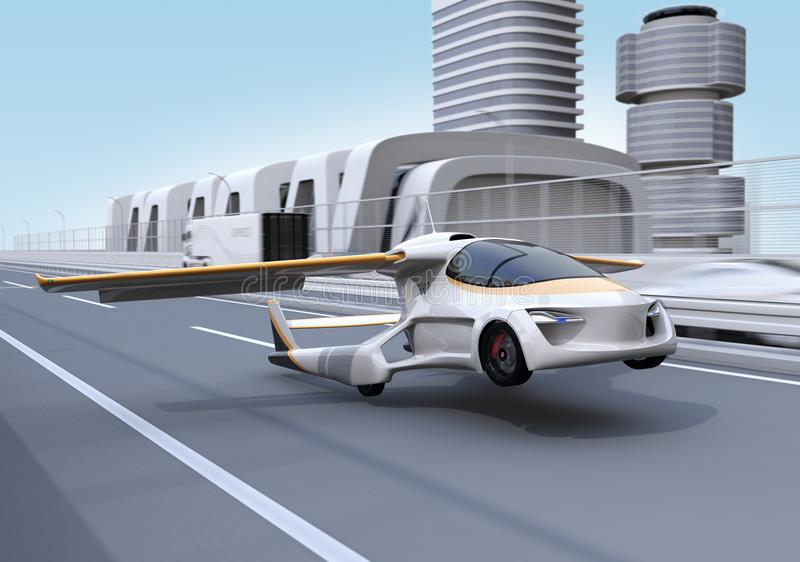 Futuristic flying car takes off from highway. Fast transportation without traffic jam concept. 3D rendering image vector illustration