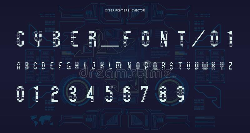 Futuristic Font design. Letters and Numbers for web and app. Techno font alphabet. Digital hi-tech symbols for HUD. Interface and cyberspace royalty free illustration