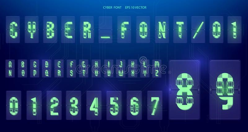 Futuristic Font design. Letters and Numbers for web and app. Techno font alphabet. Digital hi-tech symbols for HUD interface and. Cyberspace stock illustration