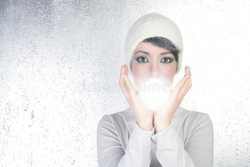 Download Futuristic Fortune Teller Woman Light Glass Sphere Stock Image - Image: 14061881