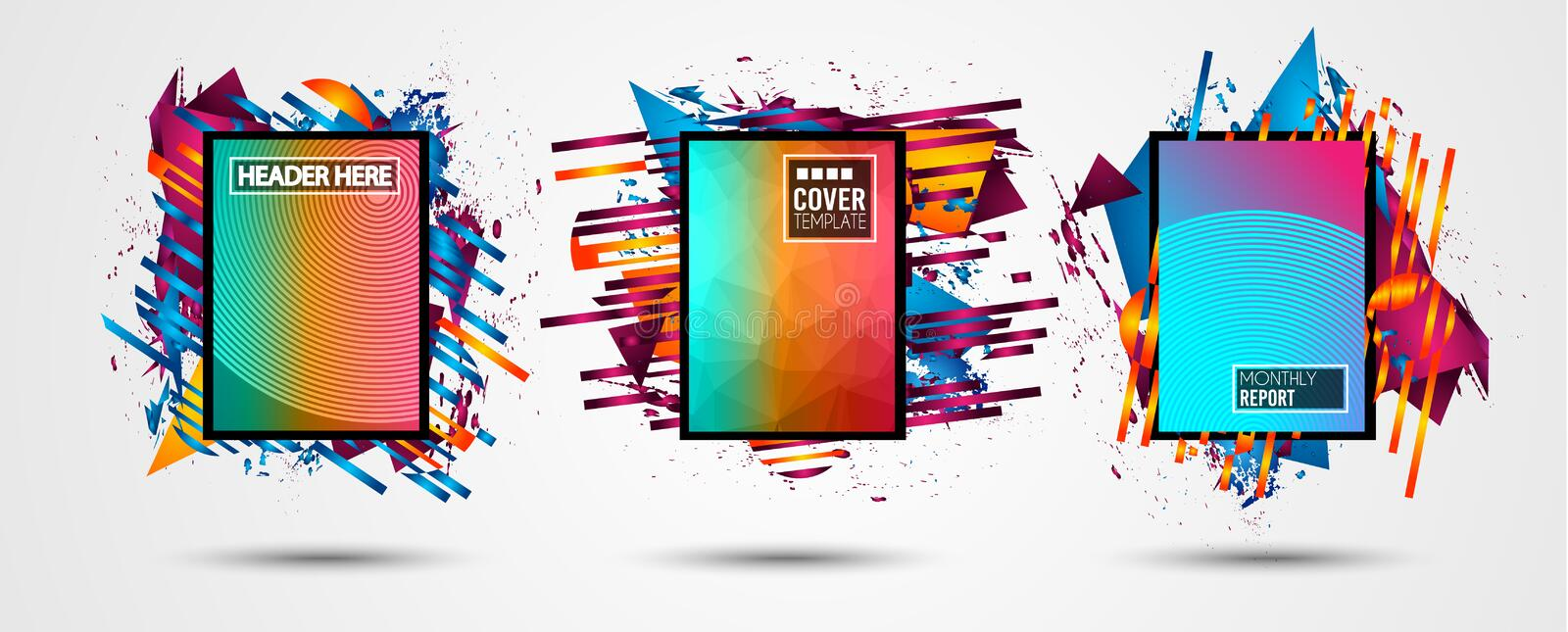 Futuristic Frame Art Design with Abstract shapes and drops of colors behind the space for text. Modern Artistic flyer or party tha royalty free illustration