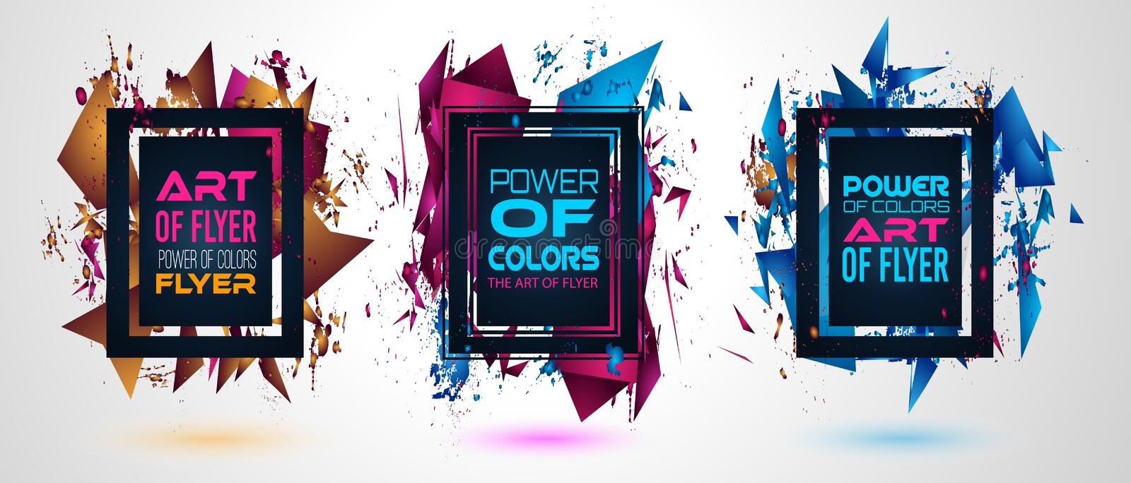 Futuristic Frame Art Design with Abstract shapes and drops of colors royalty free illustration