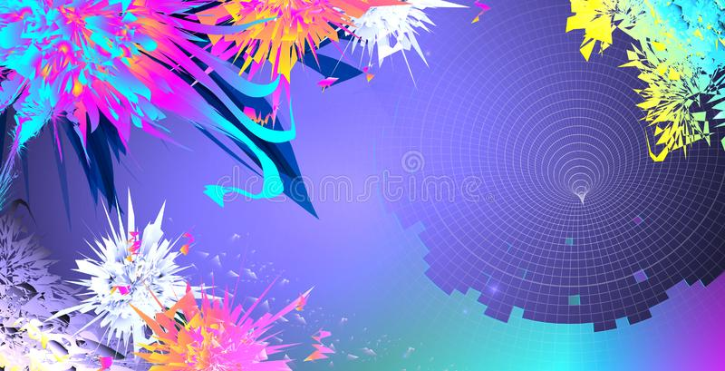 Futuristic funnel on bright colorful abstract background royalty free stock photos