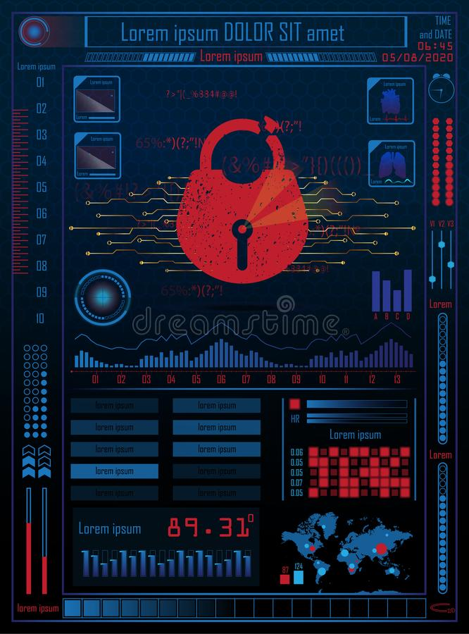 Futuristic future sci fi cyber security hud with internet technology and business interface background with map, lock. Infographic. Data. Head-Up Display, HUD stock illustration