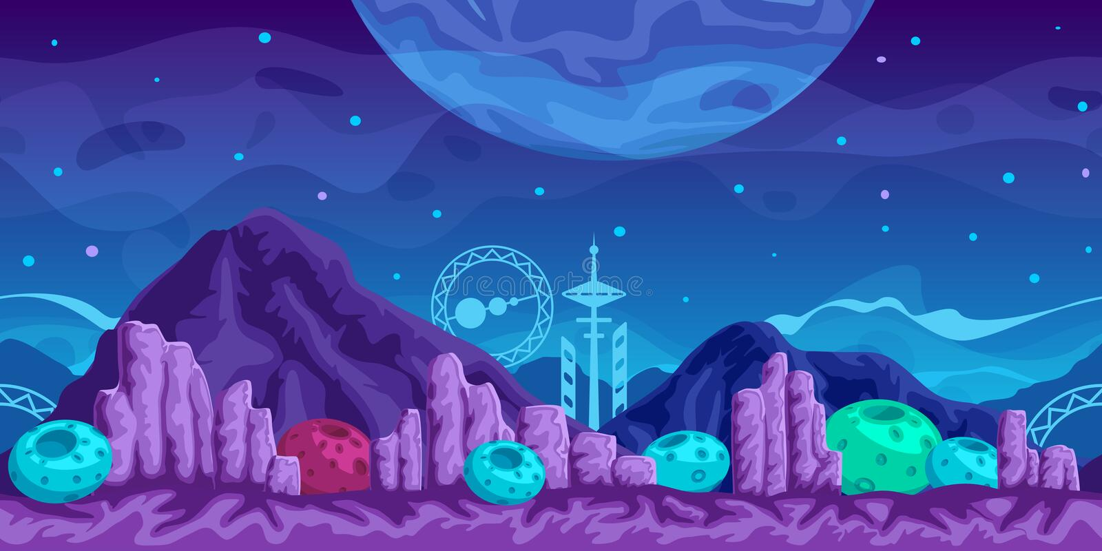 Futuristic Game Background stock illustration