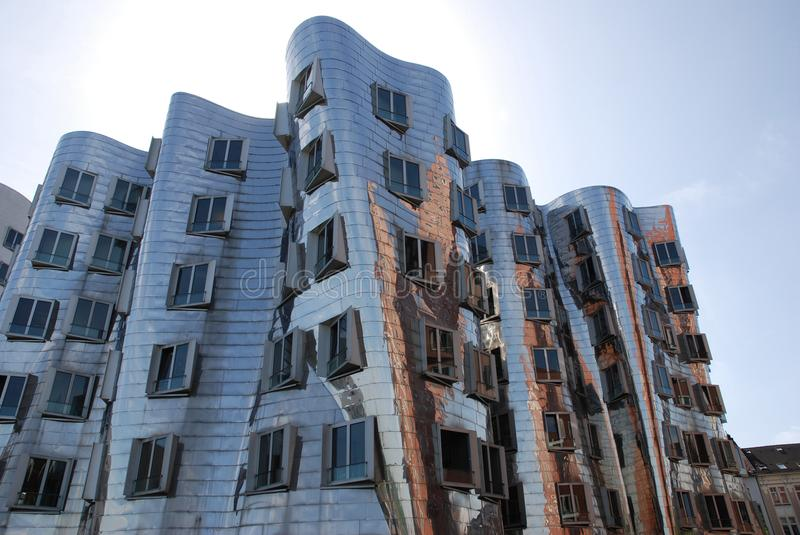 Futuristic Gehry houses in Medienhafen in Düsseldorf, germany. Gehry building in Medienhafen , a new part of Duesseldorf, Germany. In Medienhafen there are a royalty free stock image